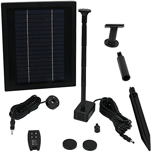 Sunnydaze Solar Pump and Solar Panel Kit with Battery Pack Remote Control and LED Light 65 GPH 47 Inch Lift