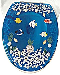 "Transparent Fish Aquarium Elongated Oval Toilet Seat with Cover Acrylic Seats.(Blue ""19 Inch)"