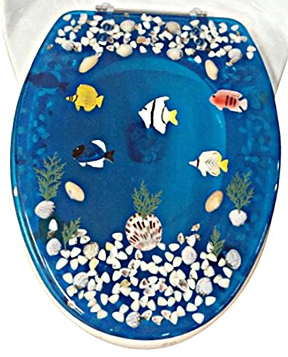 - Transparent Fish Aquarium Elongated Oval Toilet Seat with Cover Acrylic Seats.(Blue