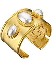 Satin Gold with 3 Cultured Pearl Center Stones Cuff Bracelet