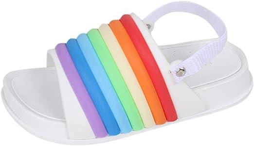 Qujki Kids Cat Unicorn Rainbow Beach Sandal Non-Slip Bath Slipper Black