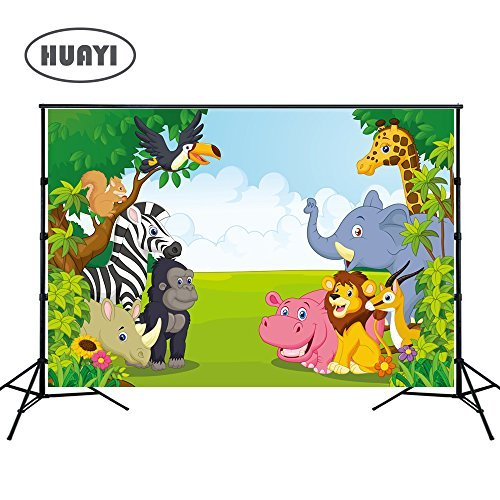 HUAYI 7x5ft Jungle safari backdrop photo background kids Photography Backdrops Photo Studio Props Children Birthday Banner Baby shower Photo booth Newborn Photography Props (xt-6521) by HUAYI