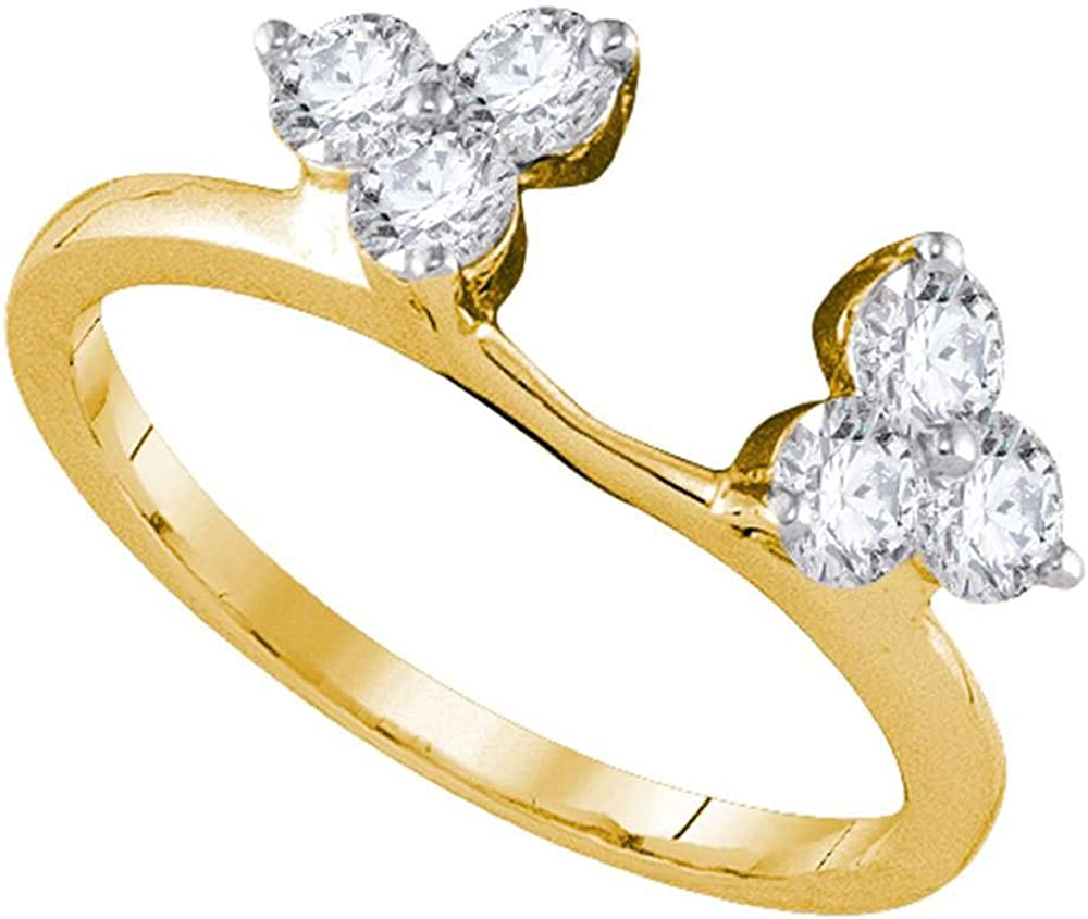 Jewels By Lux 14kt Yellow Gold Womens Round Diamond Ring Guard Wrap Enhancer Band 3/4 Cttw In Pave Setting (I1-I2 clarity; H-I color)