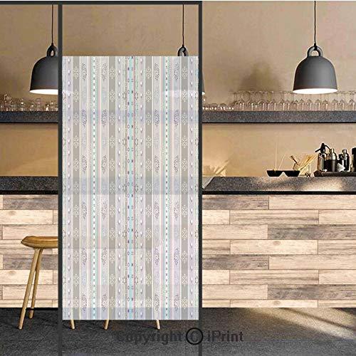 3D Decorative Privacy Window Films,Season Theme Violet Light Blue White Borders Geometrical Swirls Art Print,No-Glue Self Static Cling Glass Film for Home Bedroom Bathroom Kitchen Office 24x48 Inch