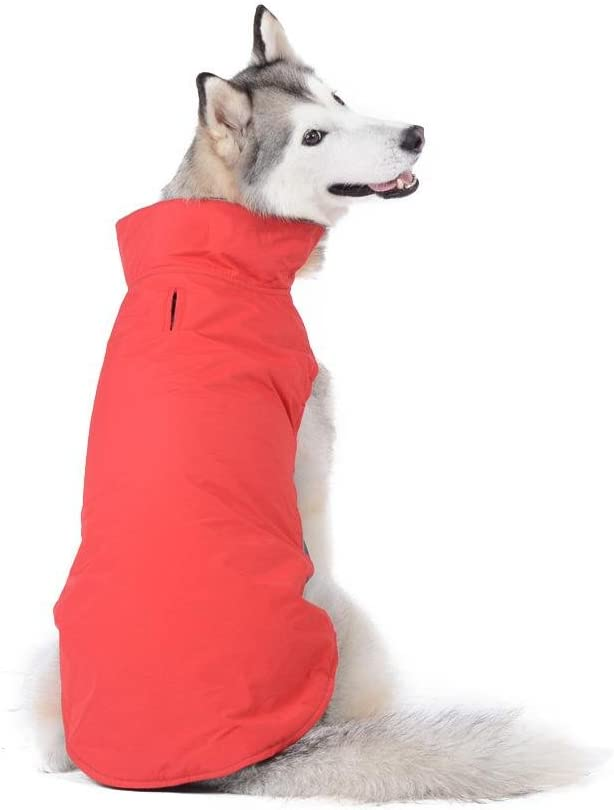 Bwiv Abrigos para Perros de Invierno Chaqueta Impermeable Forrado de Polar con Apertura para Correa Rojo 5XL