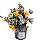Connoworld-1Pc Artificial Rose Flower Fake Plant Wedding Party Restaurant Hotel Home Decor - Grey Blue
