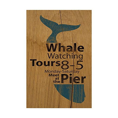 (Trademark Fine Art Whale Sign on Wood 1 by J Hovenstine Studios, 22x32 Multicolor)