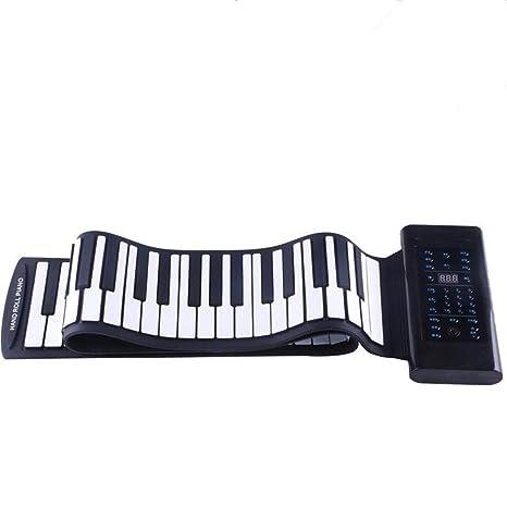 Piano portátil Flexible y plegable. Silicón suave. 61 Teclas engrosadas. Teclado eléctrico digital