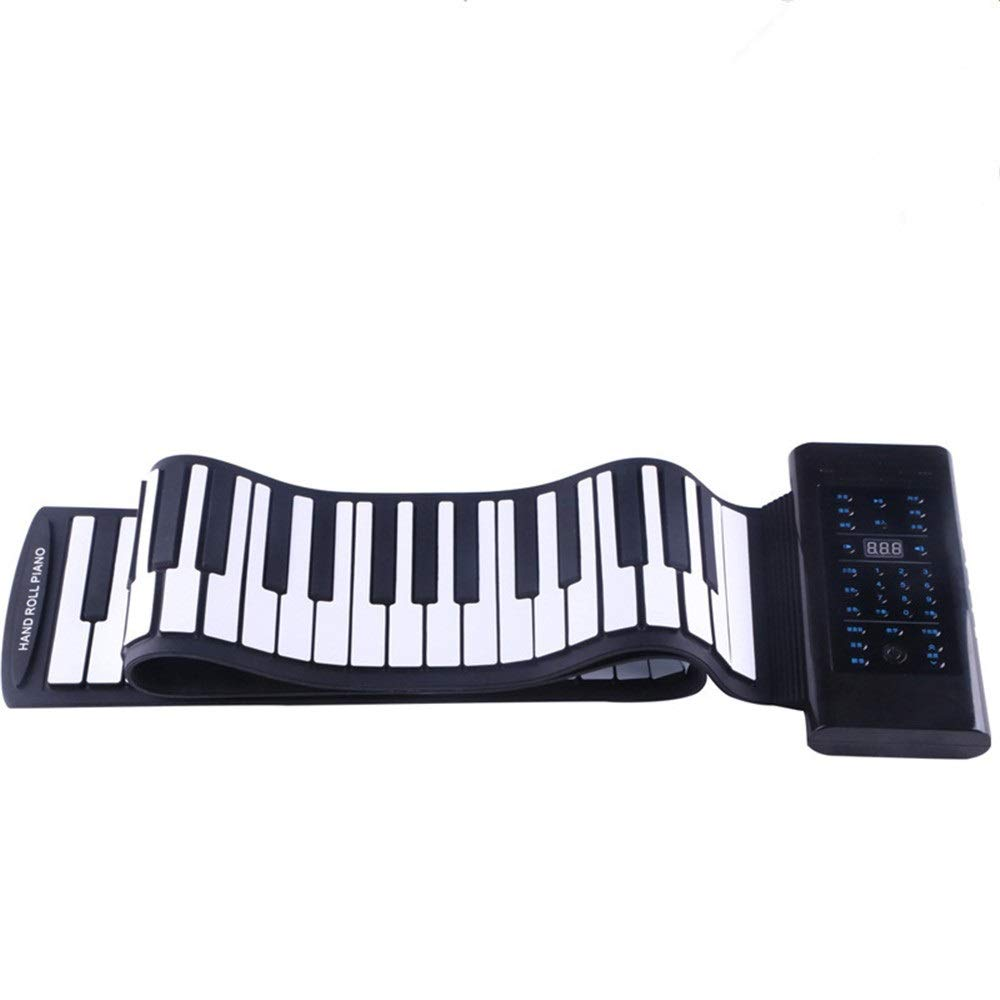 Portable Roll Up Piano Flexible And Foldable Soft Silicon 61 Thickened Keys Electric Digital Roll Up Keyboard Piano With Recording Programming Play Functions USB MIDI Output Built-in Speaker Headphone