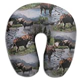 CRSJBB219 Bull Moose Nature Scenic Wildlife Animals Lake Comfortable Travel Pillow,Neck Pillow,a Memory Foam Pillow That Provides Relief and Support for Travel,Home, Neck Pain