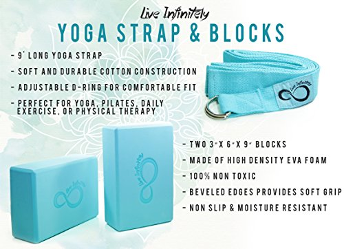 Premium Yoga Blocks & Metal D Ring Strap Yogi Set (3PC) 2 Pack High Density EVA Foam Blocks to Support & Deepen Poses, Improve Strength, Flexibility & Balance Lightweight, Odor & Moisture Resistant