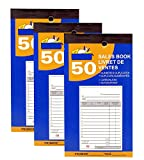 50 Sheet Sales Order Books, 2-Part, Carbonless, White/Canary, 3.5'' x 6'' - (3 Books)