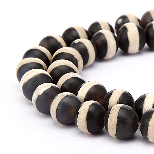 Matte Stripe (BRCbeads Matte Stripe Agate Natural Gemstone Loose Beads Round 8mm Crystal Energy Stone Healing Power for Jewelry Making- Black)