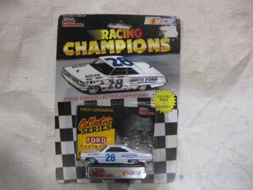 Nascar Stock (NASCAR #28 Fred Lorenzen Lafayette Ford Racing Team Stock Car With Driver's Collectors Card And Display Stand. Racing Champions Collector's Series Ford Fastbacks With White #28 Lafayette Ford Series Car On Top Of Package.)