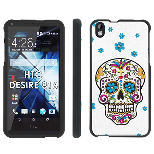 HTC Desire 816 Phone Cover, Día de Muertos - Mobiflare Black Slim Guard Armor Phone Case for HTC Desire 816 (Virgin Mobile 816 Cases)