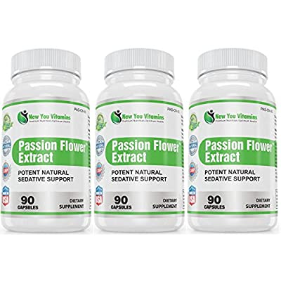 Passion Flower Supplement Potent Natural Sedative Support Passion Flower Herb Extract 900mg 270 Passion Flower Capsules Capsules 3 Bottles
