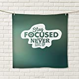smallbeefly Motivational Hand Towel Stay Focused and Never Give Up Inspirational Words on Abstract Backdrop Quick-Dry Towels Jade Green White Size: W 20'' x L 39''