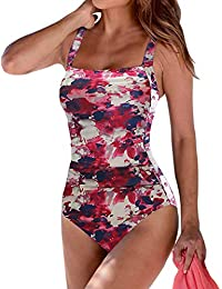 fb2364e9b4e95 Women s Vintage Padded Push up One Piece Swimsuits Tummy Control Bathing  Suits Plus Size Swimwear