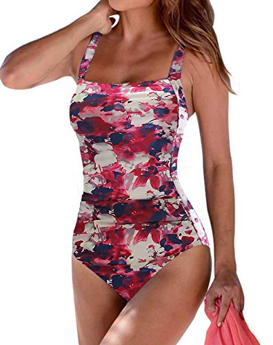 Upopby Women's Vintage Tummy Control One Piece Swimsuits Monokini Plus Size Swimwear Printed Bathing Suits Pink Floral ()