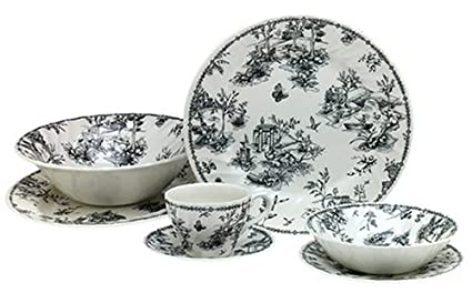 Churchill China Black Toile 47-Piece Dinnerware Set Service for 8  sc 1 st  Amazon.com & Amazon.com | Churchill China Black Toile 47-Piece Dinnerware Set ...