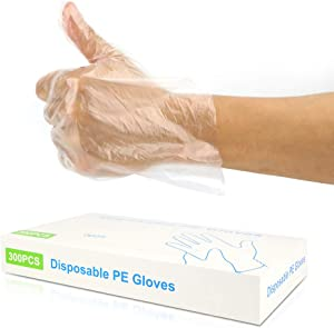 300PCS Disposable Plastic Gloves, Latex Free Powder Free Clear Polyethylene Hand Gloves Non-Sterile for Cleaning- Cooking, Hair Coloring, Dishwashing, Food Handling, Large