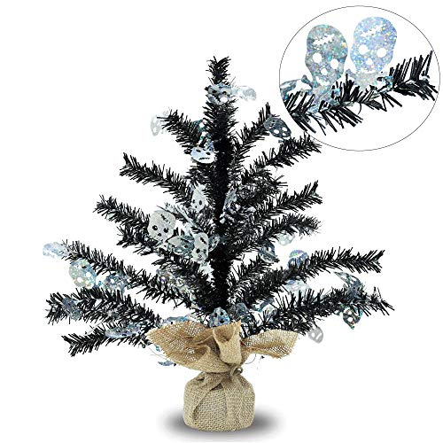 17''Artificial Mini Tinsel Christmas Trees with Burlap Wrapped