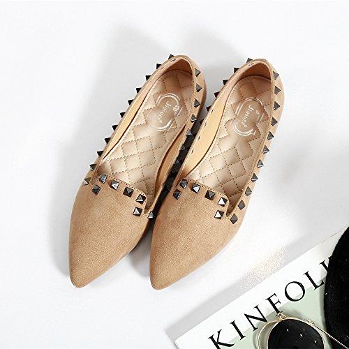 Meeshine Mujeres Classic Rivets Pointy Toe Flats Slip On Gamuza Tachonado Vestido Bombas Zapatos Khaki Suede / Black Studs