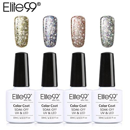 Elite99 Starry Gel Nail Polish Set Soak Off UV Led Nail Varnish 10ML Nail Lacquers Nail Art Manicure Pedicure 4 Colors