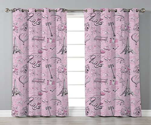 iPrint Stylish Window Curtains,Paris Decor,Paris Themed Sketch Art with Bike Dog Shoes Street Lamp Hot Air Ballon Bird in Cage,2 Panel Set Window Drapes,for Living Room Bedroom Kitchen Cafe