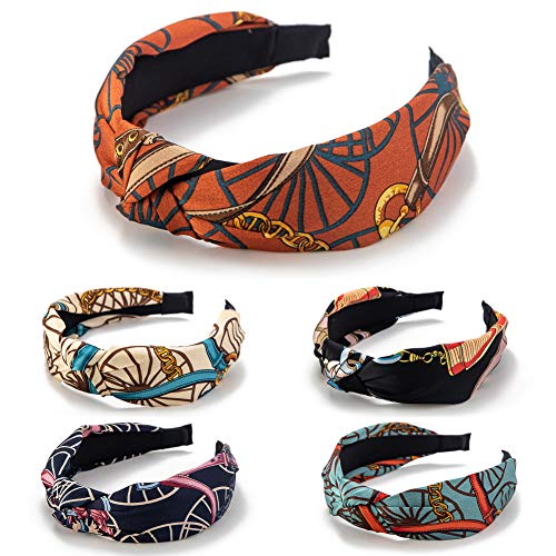 GUNIANG Knot Wide Headbands for Women, Cloth Hair Bands for women's Hair Accessories Headband for Girls 5 Color Hairband