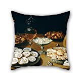 alphadecor 18 x 18 inches / 45 by 45 cm oil painting Osias Beert the Elder - Dishes with Oysters, Fruit, and Wine pillowcase,2 sides is fit for him,boy friend,son,kids girls,club,gril friend