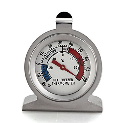 Dial Type Thermometer - Januone Refrigerator Freezer Thermometer Fridge DIAL Type Stainless Steel Hang Stand