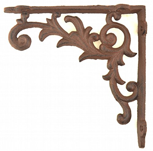 Wall Shelf Bracket Ornate Vine Pattern Cast Iron 6.5