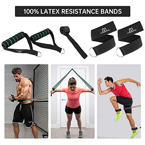 Resistance Bands, MENNYO 17PCS with 5 Exercise Resistance Bands Set, 5 Hose Resistance Fitness Exercise Bands and 2 Carrying Bags for Men and Women Home Gym Fitness, Physical Therapy