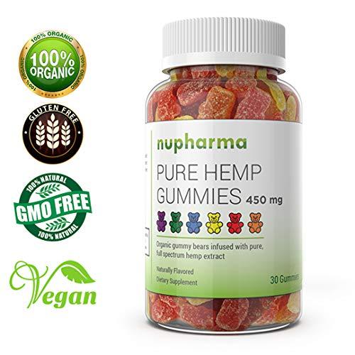 Pure Hemp Gummies - 15mg per Gummy - Organic Full Spectrum Hemp Extract- Hemp Oil Gummy Bears Promote Relief from Stress, Anxiety, Pain, Nausea- Sleep Better by Nupharma (450 mg (30 Count))