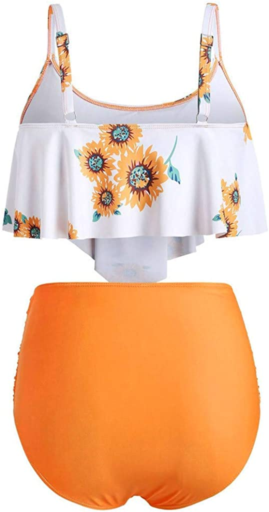 Two Piece Swimsuits for Women Bathing Suits Top Halter Sunflower High Waisted Bikini Bottoms Tankini Set