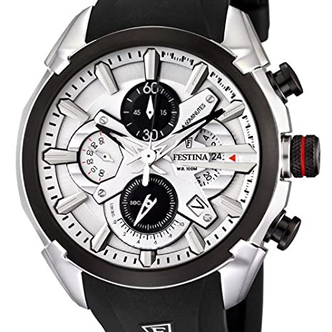 Amazon.com: Festina Mens F6819/1 Black Rubber Quartz Watch with White Dial: Festina: Watches