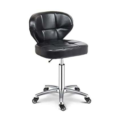 YUWJ Home Office Lounge Chair, Pu Leather Salon Beauty Stool Barstool  Mobile Pulley Chair Lift high backrest Ergonomic Adjustable Swivel  Chair,Black