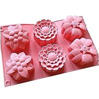 Allforhome 6 flores de silicona para hornear tazas para muffins moldes de jabón hechos a mano moldes para pastelitos moldes para hornear moldes para hornear moldes de resina polimérica arcilla de gelatina jabón moldes de bricolaje moldes de jabón moldes