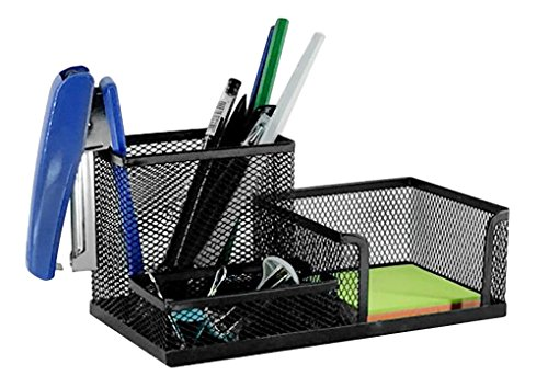 Mesh Metal 3 Compartment Office Supplies Caddy Pencil Holder Pen Cup Card Case Sorter Memos Display Desk Accessories Workspace Organizers Accessories Storage Brackets Cube Home
