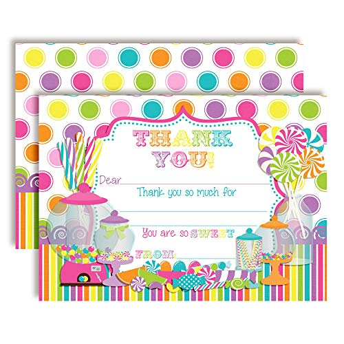 Sweet Shoppe Candy Shop-Themed Thank You Notes for Kids, Ten 4