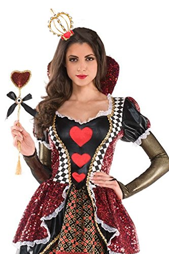 JeVenis Gold Queen of Hearts Luxury Queen Crown Birthday Hat Crystal Crown Party Headband Costume (One Size, (Queen Of Hearts Costume Accessories)