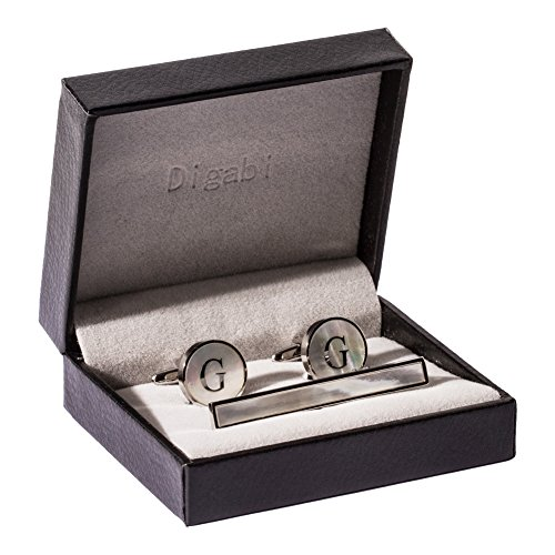 Platinum Gift - Digabi Platinum Plated 18K Rectangular Mother of Pearl Tie Clip and Initial Letter Cufflinks Set with Nice Box (Silver G)