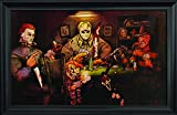 Slashers Poker Wall Art Textured Print Framed - Jason Voorhees, Freddy Krueger, Michael Myers, Chucky & Scream Poster - Scary Horror Movie Wall Art – 36x24'' – Cool Unique Décor Painting by Big Chris