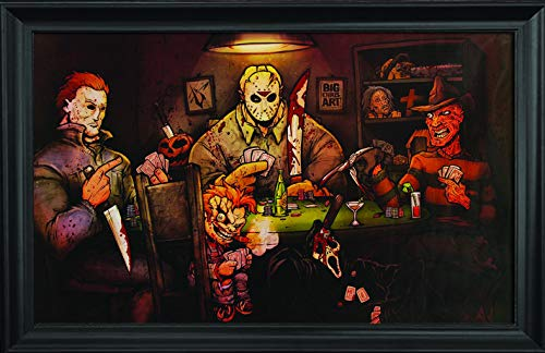 Slashers Poker Wall Art Textured Print Framed - Jason Voorhees, Freddy Krueger, Michael Myers, Chucky & Scream Poster - Scary Horror Movie Wall Art – 36x24'' – Cool Unique Décor Painting by Big Chris by Lentics