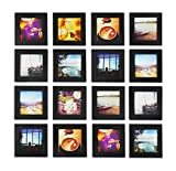 Golden State Art, Smartphone Instagram Frame Collection, Set of 16, 4x4-inch Square Photo Wood Frames, Black