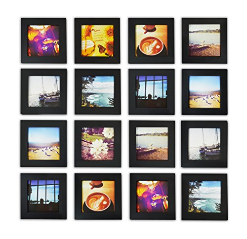 Wood Collection Black (Golden State Art, Smartphone Instagram Frame Collection, Set of 16, 4x4-inch Square Photo Wood Frames, Black)