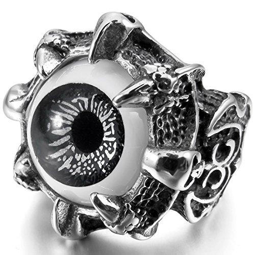 INBLUE Men's Stainless Steel Ring Grey Silver Tone Black Dragon Claw Evil Devil Eye Skull Knight Fleur De Lis