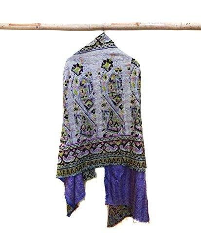 Silk Kantha Scarf Head Wrap Stole Dupatta Hand Quilted Women Shawl Stitched