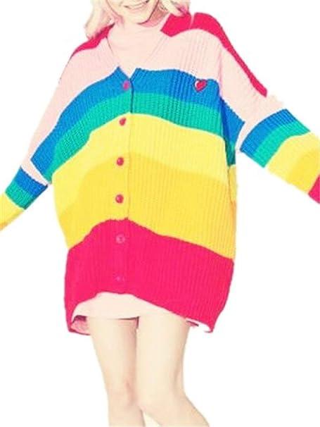 Hulday Chaqueta De Punto Mujer Primavera Otoño Manga Larga Abrigo Tejido Moda Joven Moda Estilo Simple Fiesta Abrigos Colores del Arco Iris Un Solo Pecho ...